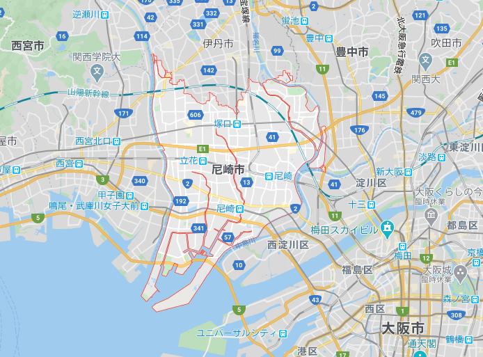 尼崎の地図画像